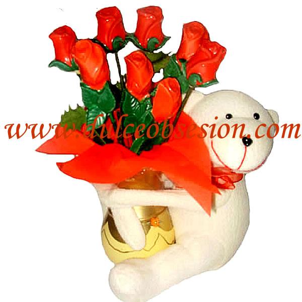 Montaje fotografico Oso de peluche con ramo de flores - Pixiz