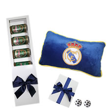 gifts for father's day, sports gifts, gifts for men, gift pillows from Club Real Madrid, beer for gift, gift from the Real Madrid club, pilsen bouquet, delivery of gifts in Lima peru