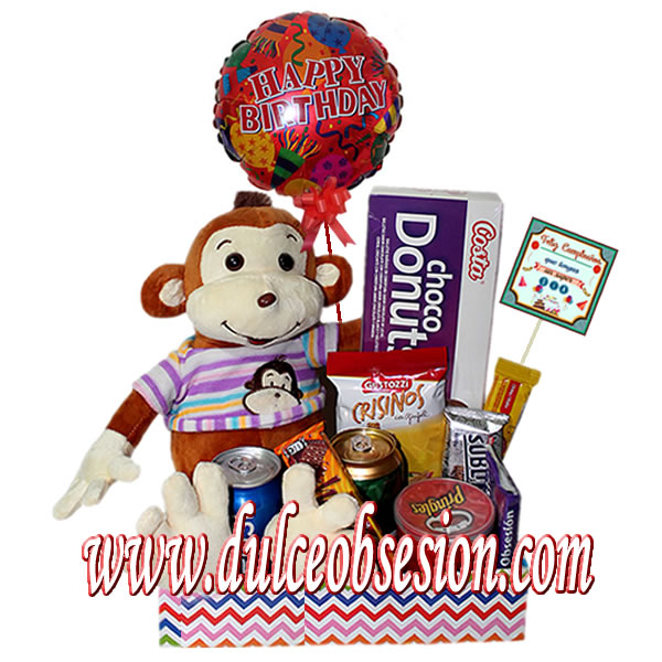 birthday gift, gifts in peru, birthday gift for them, birthday gift for them, baskets with candy for gifts, delivery in Lima, gift shop in peru, monkey toys with sweets, anniversary gift