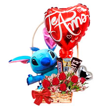 Stuffed toy Stich for gift, delivery of floral arrangements, roses for gift, baskets with roses and stuffed animals, pink and chocolate teddies, delivery of gifts, gifts in Lima Peru, floral arrangements for gift